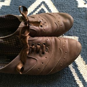 British Oxfords with ribbon laces